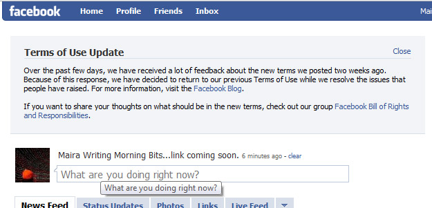 Facebook reverts Terms of Service