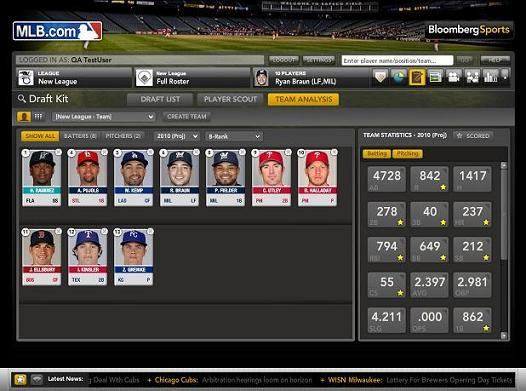 Fantasy Baseball Draft from Bloomberg Sports