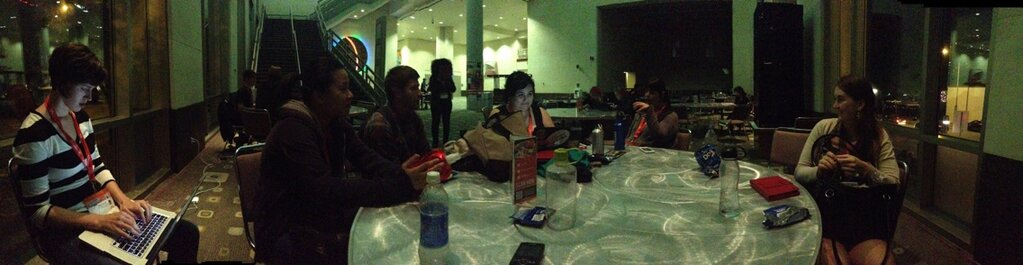 A panorama of the group at work in the Convention Center.