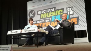 Josh Tetrick (left) and Andrew Zimmern talk food at SXSW.